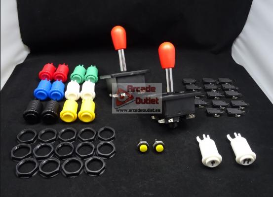 Kit botoneras, botones arcarde y el palanca arcade.