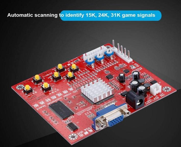 Tablero de Juego VGA, Tablero convertidor de Videojuegos de Alta definición RGBS/CGA a VGA, 15K / 24K / 31K Señales de Juego identificadas automáticamente, Chip de procesamiento de Video